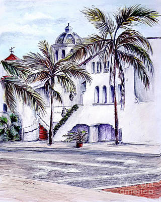 Drawing - On The Streets Of Santa Barbara by Danuta Bennett