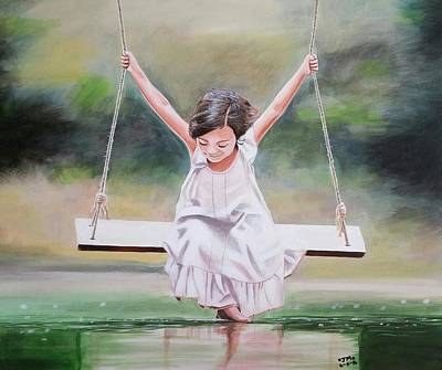 Girl On Swing Painting - On The Swing by Jamie Melton