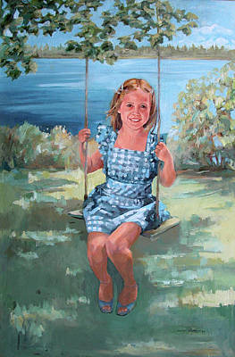 Painting - On The Swing by Synnove Pettersen
