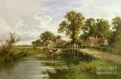 Dairy Cows Painting - On The Thames Near Marlow by Henry Parker