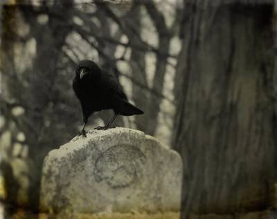 On The Tombstone By The Tree Art Print by Gothicrow Images