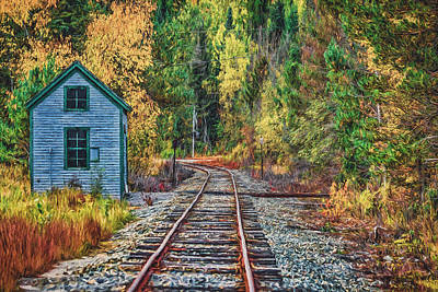 Autumn Leaf On Water Digital Art - On The Tracks Painted by Black Brook Photography