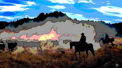 Cattle Drive Mixed Media - On The Trail by Charles Shoup