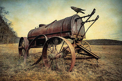 Print featuring the photograph On The Water Wagon - Agricultural Relic by Gary Heller