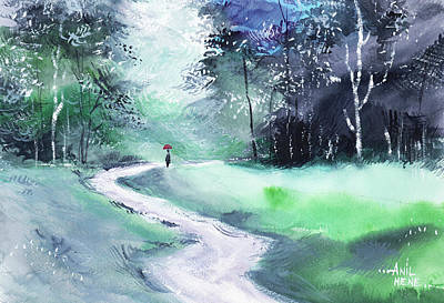 Painting - On The Way by Anil Nene