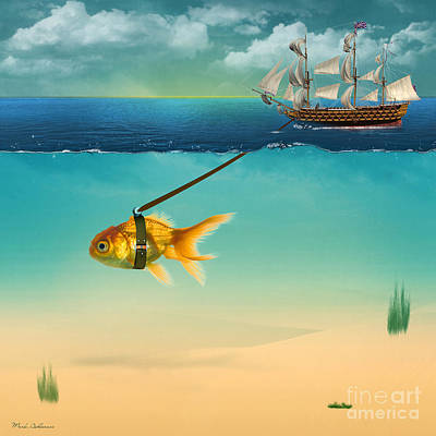 Gold Fish Painting - On The Way  by Mark Ashkenazi