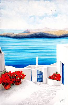 On The Way To Santorini - Prints Of Original Oil Painting Art Print by Mary Grden Fine Art Oil Painter Baywood Gallery