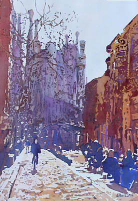 Painting - On The Way To The Sagrada Familia by Jenny Armitage