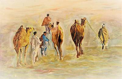 Painting - On Their Way by Khalid Saeed