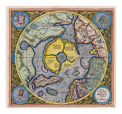Digital Art - On Top Of The World - Mercator's Arctic Map 1595 by Art MacKay