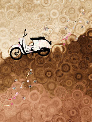 Scooter Mixed Media - On Top Of The World Whimsy by Georgiana Romanovna