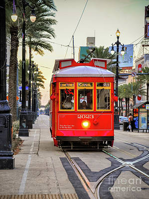 On Track - Canal Streetcar New Orleans Print by Kathleen K Parker