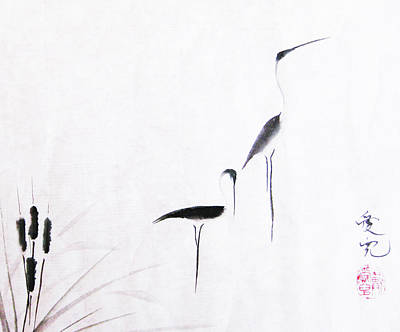 Egret Painting - On Typha Pond by Oiyee At Oystudio