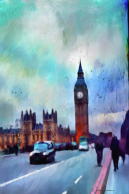 Digital Art - On Westminster Bridge by Nicky Jameson