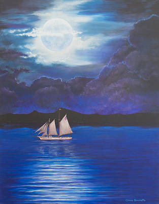 Sailing At Night Painting - Once In A Blue Moon by Christine Brunette