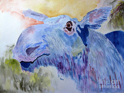 Once In A Blue Moose Art Print by Sandy McIntire