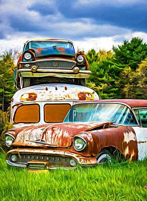 Old School Bus Photograph - Once Shiny Dreams - Paint by Steve Harrington