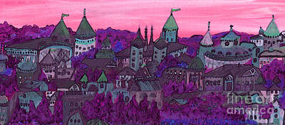 Painting - Once Upon A Land In A Time Far Away Pink By Jrr by First Star Art