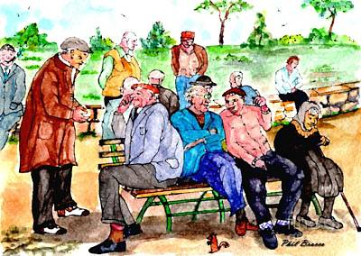Painting - Once Upon A Park Bench by Philip Bracco