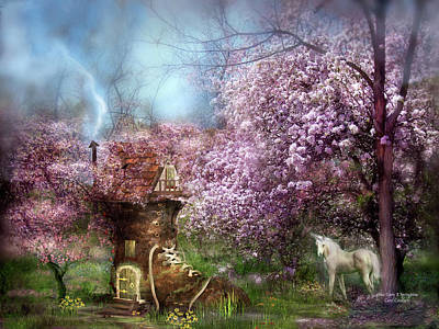 Unicorn Mixed Media - Once Upon A Springtime by Carol Cavalaris