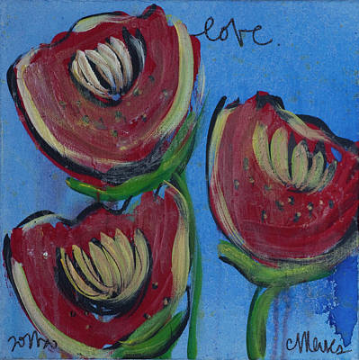 Painting - Once Upon A Yoga Mat Poppies 2 by Laurie Maves ART