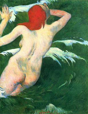 Outdoor Nude Painting - Ondine, In The Waves by Paul Gauguin