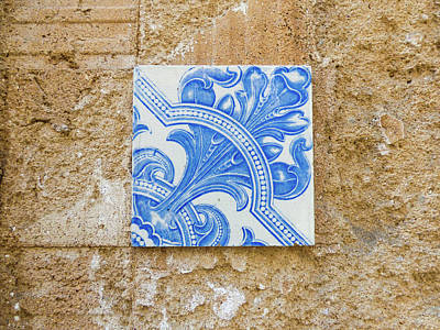 Photograph - One Blue Vintage Tile  by Helissa Grundemann
