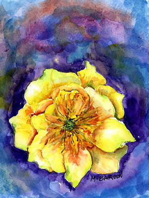 Painting - One Cactus Flower by Marilyn Barton