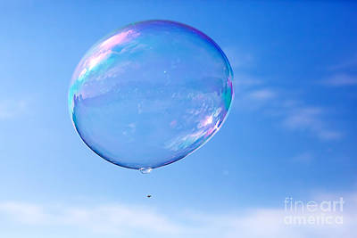 Flying Photograph - One Clean Soap Bubble Flying In The Air by Michal Bednarek