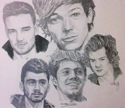 Niall Drawing - One Direction by Darran Rothan
