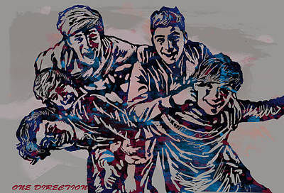 Niall Drawing - One Direction Pop Stylised Art Poster by Kim Wang