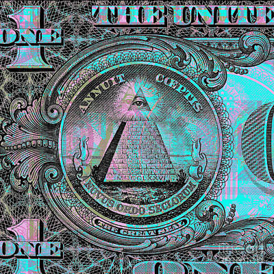 Multicolored Digital Art - One-dollar-bill - $1 - Reverse Side by Jean luc Comperat