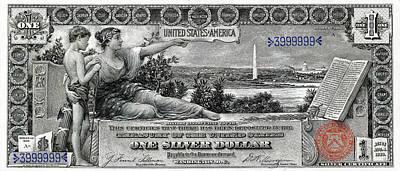 Financial Digital Art - One Dollar Note - 1896 Educational Series  by Serge Averbukh