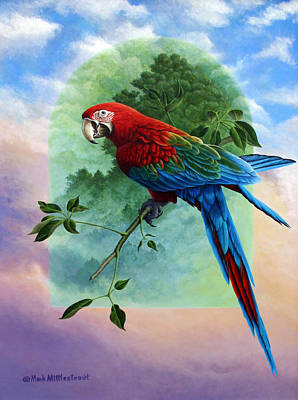Amazon Parrot Painting - One Earth Two Worlds by Mark Mittlesteadt