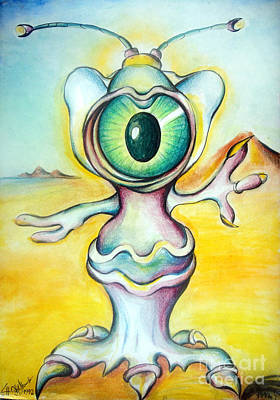 Cyclops Painting - One-eyed Cyclop Space Alien  by Sofia Metal Queen