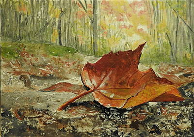 Painting - One Fallen Mapleleaf by Betty-Anne McDonald