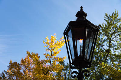 Photograph - One Fine Autumn Day With An Antique Gas Lantern by Georgia Mizuleva