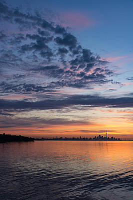 Photograph - One Fine View - Rainbow Colored Skies Over Toronto At Dawn by Georgia Mizuleva