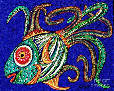 Fanciful Painting - One Fish by Sarah Loft