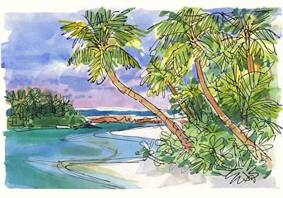 Painting - One-foot-island, Aitutaki by Judith Kunzle