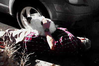 Digital Art - One Handed Mechanic And His Cat by Aliceann Carlton