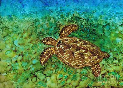 Hawaii Sea Turtle Painting - One Happy Turtle - Animal Print by Hao Aiken