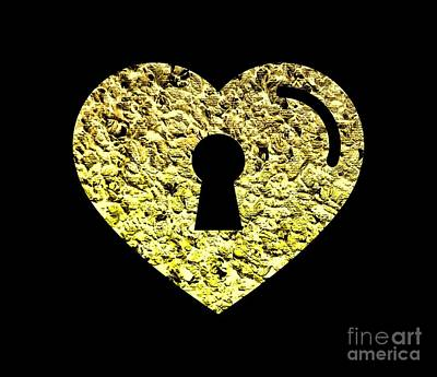 Digital Art - One Heart One Key 2 by Rachel Hannah