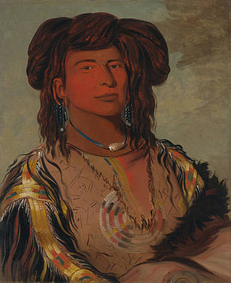 One Horned Painting - One Horn, Head Chief Of The Miniconjou Tribe by George Catlin