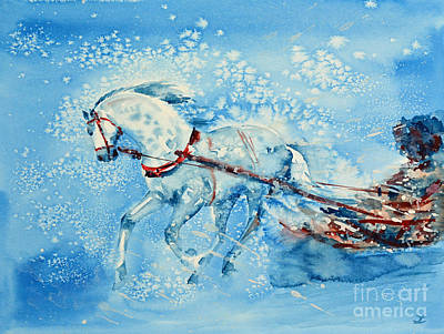 Painting - One Horse Open Sleigh by Zaira Dzhaubaeva