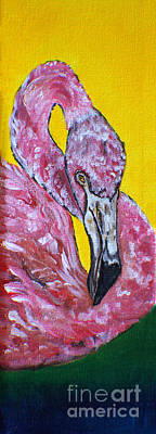 Drawings Royalty Free Images - One Hot Pink Flamingo Royalty-Free Image by Ella Kaye Dickey