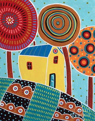 Folk Art Painting - One House Three Trees Landscape by Karla Gerard