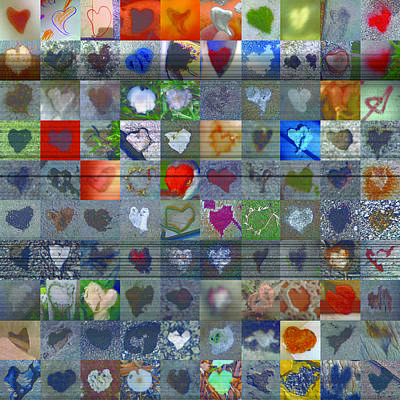 Grid Of Heart Photograph - One Hundred And One Hearts by Boy Sees Hearts