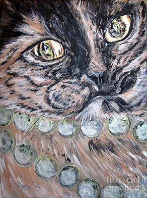 Painting - One In A Million...  Beauty Of Cat's Eyes. Hello Pearl Collection. Portrait by Oksana Semenchenko