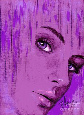 Beautiful Girl Drawing - One Last Look Back by P J Lewis